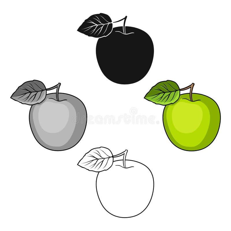 Ma?? verde com folha Dieta apropriada para o diabetes ?nico ?cone do diabetes nos desenhos animados, estoque preto do s?mbolo do  ilustração do vetor