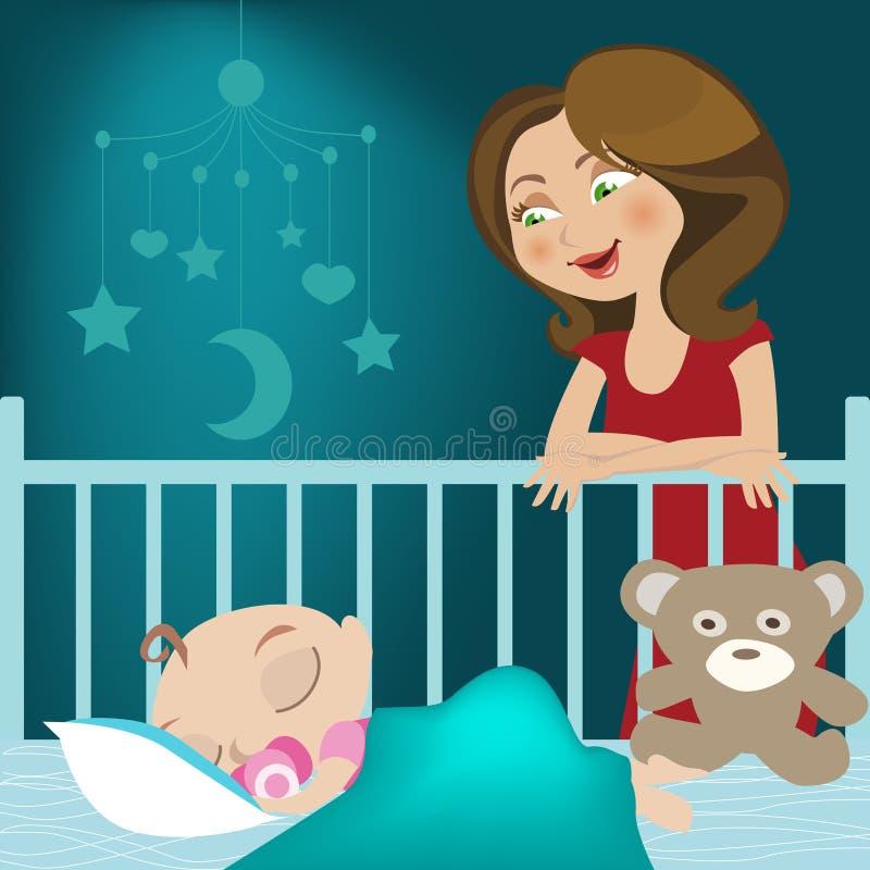 Download Mały dziecka dosypianie ilustracja wektor. Obraz złożonej z rysujący - 10209011