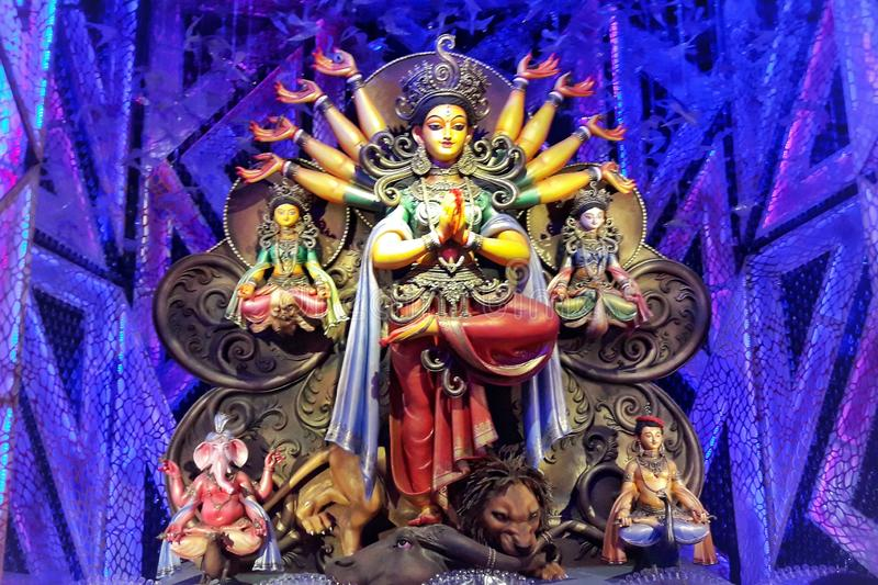 Maa durga kolkata bengali grande festival Happy Day Happy Dèle Power femmina lakhsmi swarasoti design design design del colore immagine stock