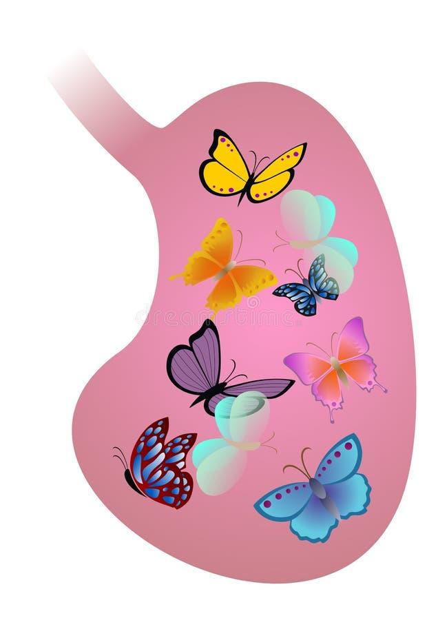 Maag met vlinders royalty-vrije illustratie