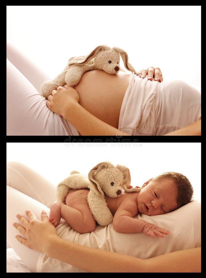 Maag zwangere vrouw op witte achtergrond stock fotografie
