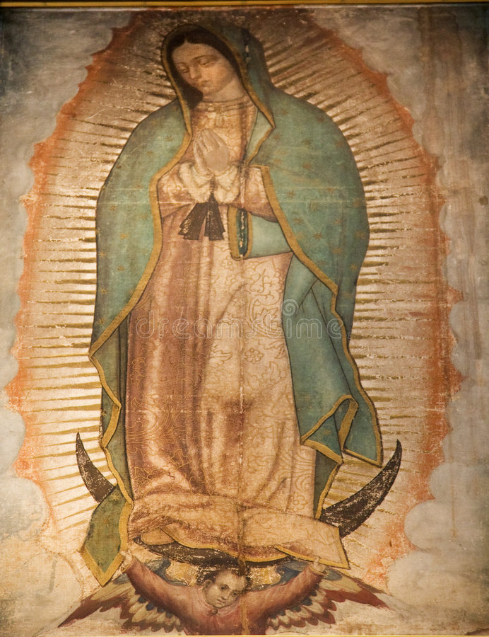 Maagdelijk het Schilderen van Mary Guadalupe Heiligdom Mexico-City royalty-vrije stock foto