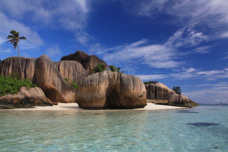Maagdelijk strand Seychellen royalty-vrije stock fotografie