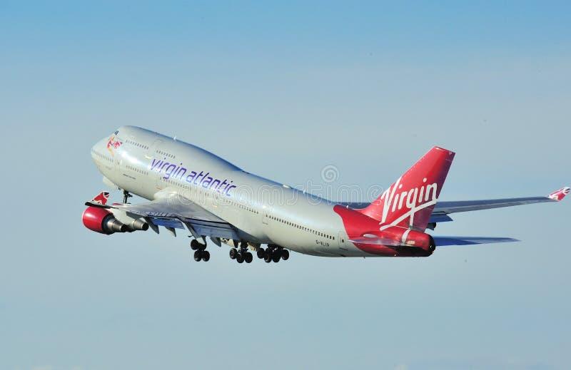 Maagdelijke Atlantische Boeing 747 stock foto's