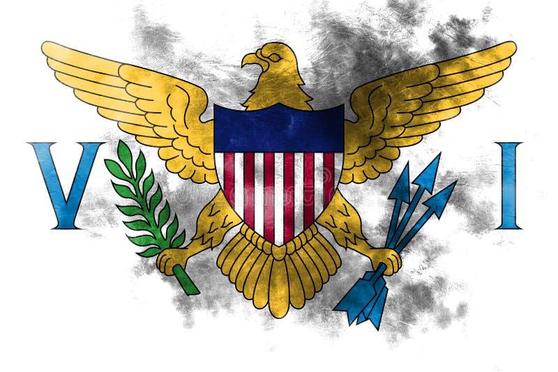 Maagdelijke Eilanden grunge vlag, FL van het grondgebied van Verenigde Staten afhankelijk vector illustratie