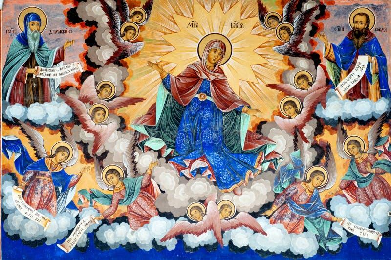 Maagdelijke Mary, Fresko in Klooster Rila stock foto