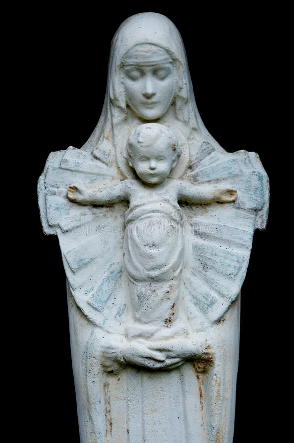 Maagdelijke Mary met baby Jesus stock foto