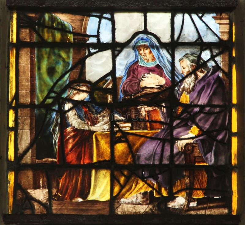 Maagdelijke Mary met haar ouders, St Anne en St Joachim royalty-vrije stock foto's