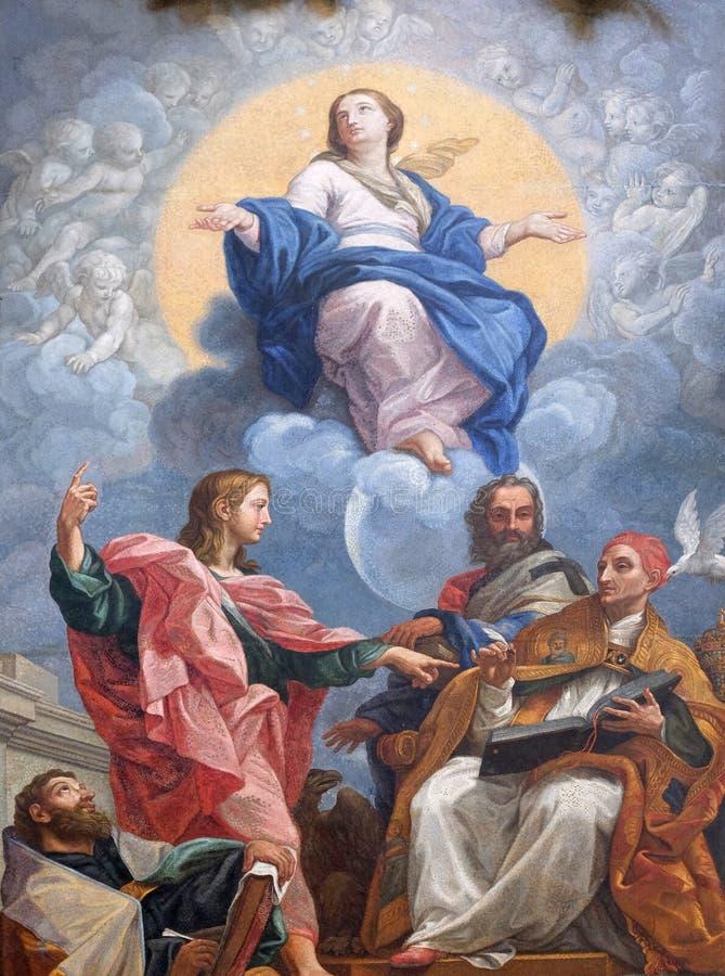 Maagdelijke Mary met St John de Evangelist, Augustine, John Chrysostom en Gregory Groot royalty-vrije stock foto