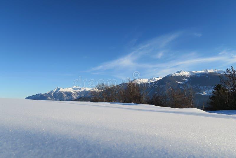 Maagdelijke sneeuw in Zwitserse alpen royalty-vrije stock fotografie