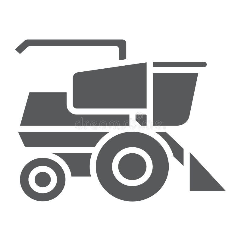 Maaidorser glyph pictogram, landbouw en landbouwbedrijf, voertuigteken, vectorafbeeldingen, een stevig patroon op een witte achte vector illustratie