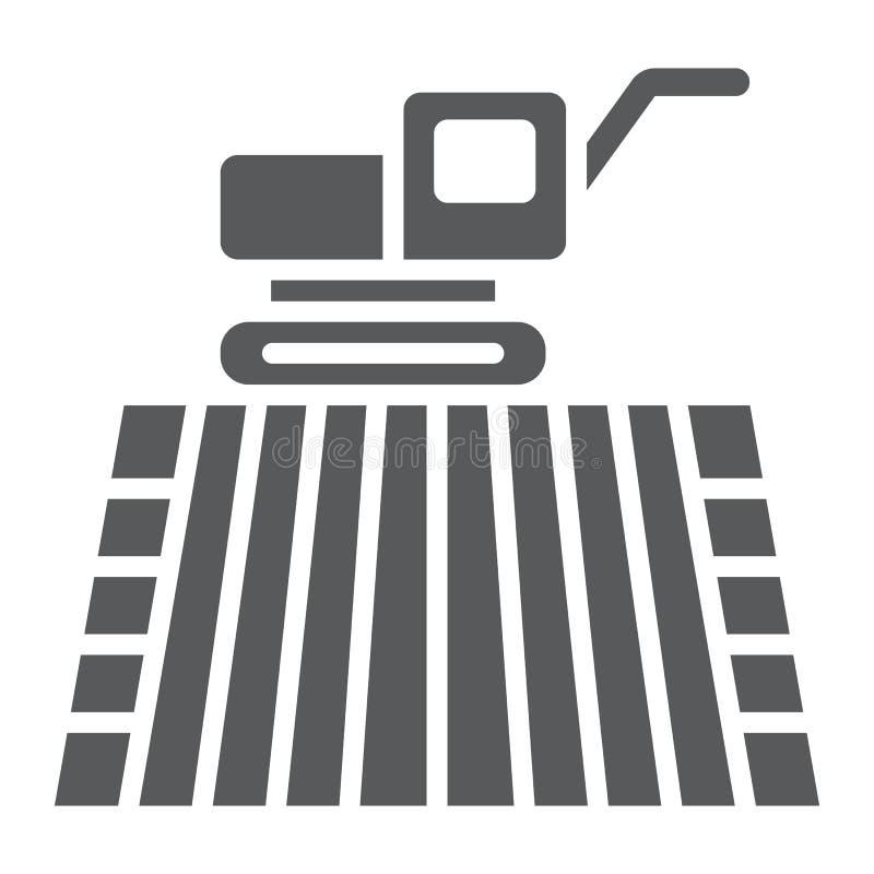Maaidorser op gebieds glyph pictogram, de landbouw stock illustratie