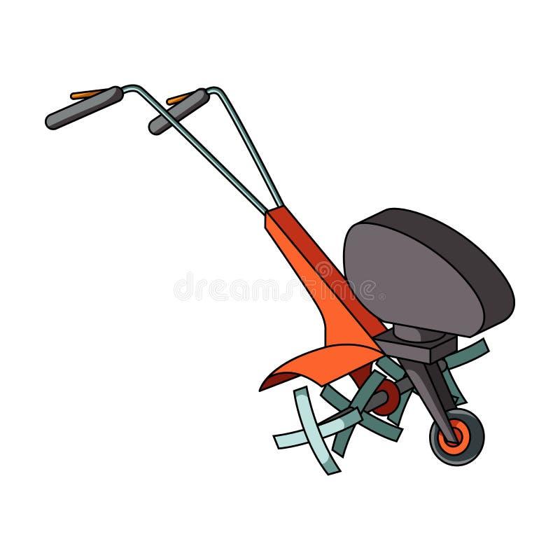 Maaimachines voor scherp gras en gazon Landbouwmachines voor het hof Landbouwmachines enig pictogram in beeldverhaal royalty-vrije illustratie