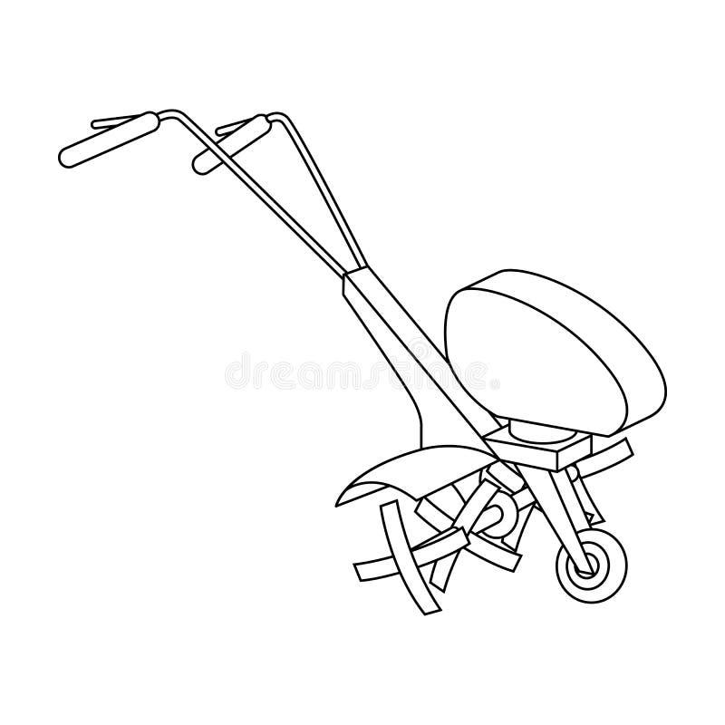Maaimachines voor scherp gras en gazon Landbouwmachines voor het hof Landbouwmachines enig pictogram in overzicht royalty-vrije illustratie