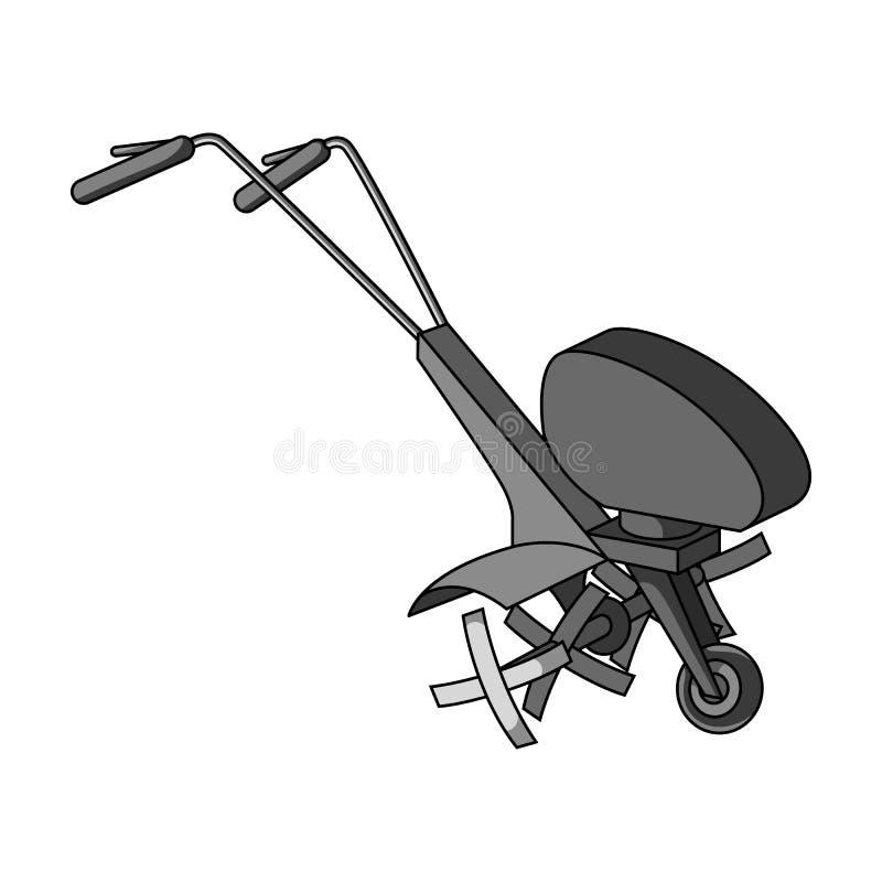 Maaimachines voor scherp gras en gazon Landbouwmachines voor het hof Landbouwmachines enig pictogram in zwart-wit vector illustratie