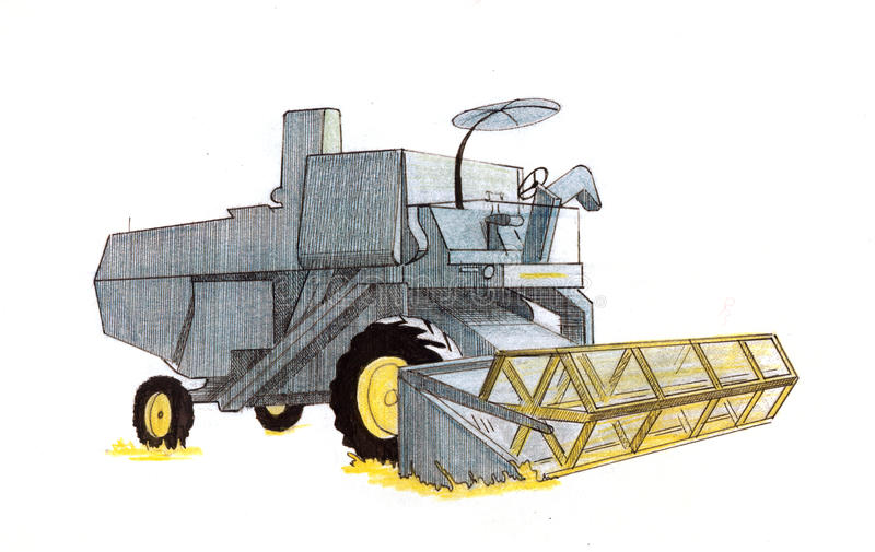 Maaimachinetekening stock illustratie