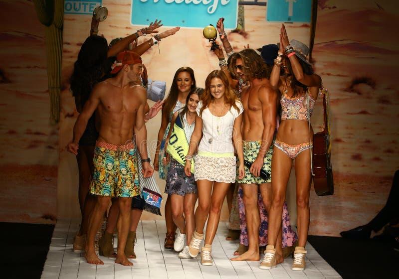 Maaji designers Manuela and Amalia Sierra and models walks runway finale during the Maaji Swimwear fashion show. MIAMI, FL - JULY 19: Maaji designers Manuela and stock images