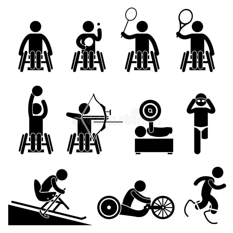 Maak de Pictogrammen van de Spelencliparts van Paralympic van de Handicapsport onbruikbaar stock illustratie