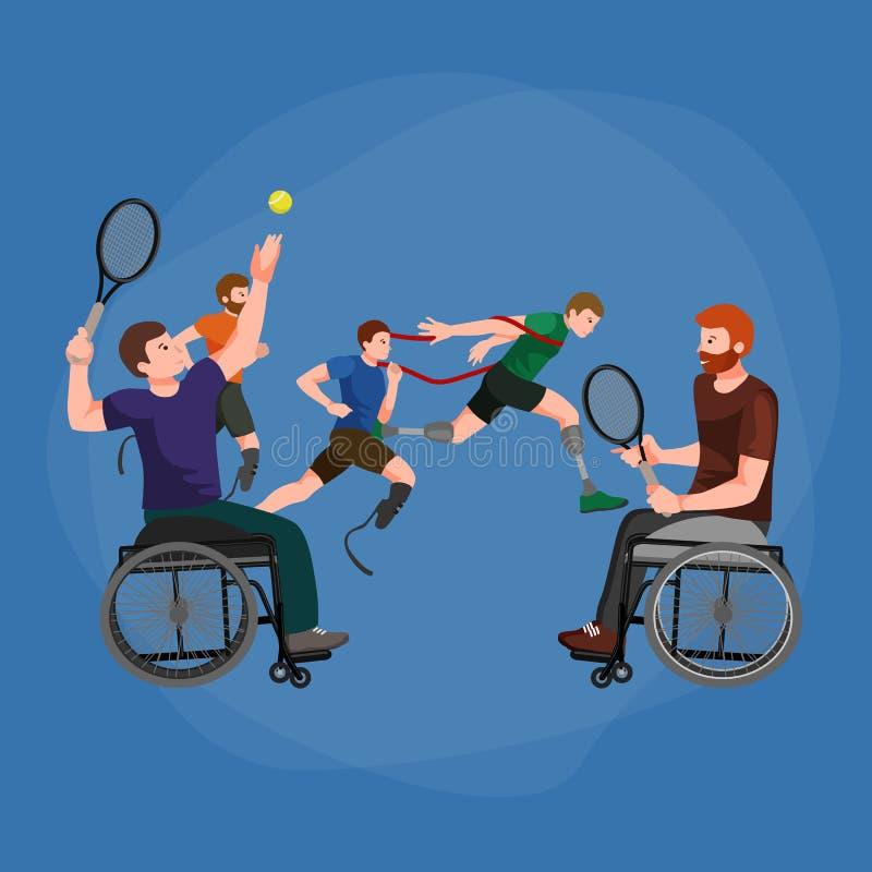 Maak de Spelen van Paralympic van de Handicapsport onbruikbaar vector illustratie