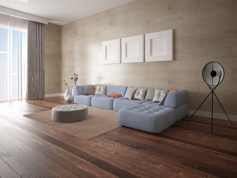 Maak een ruime woonkamer met een grote hoekbank royalty-vrije illustratie