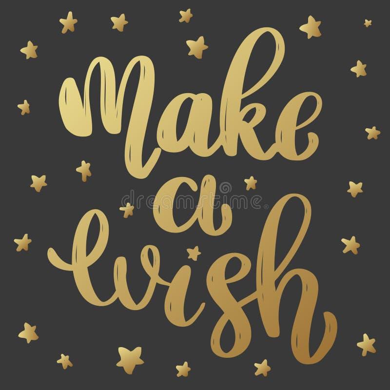 Maak een wens Het van letters voorzien uitdrukking in gouden stijl op donkere achtergrond Ontwerpelement voor affiche, groetkaart royalty-vrije illustratie