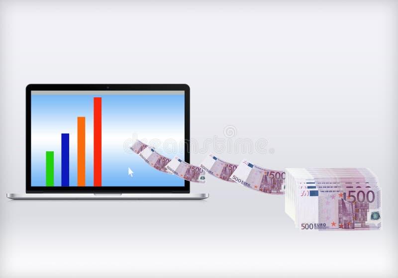 Maak geld online stock illustratie