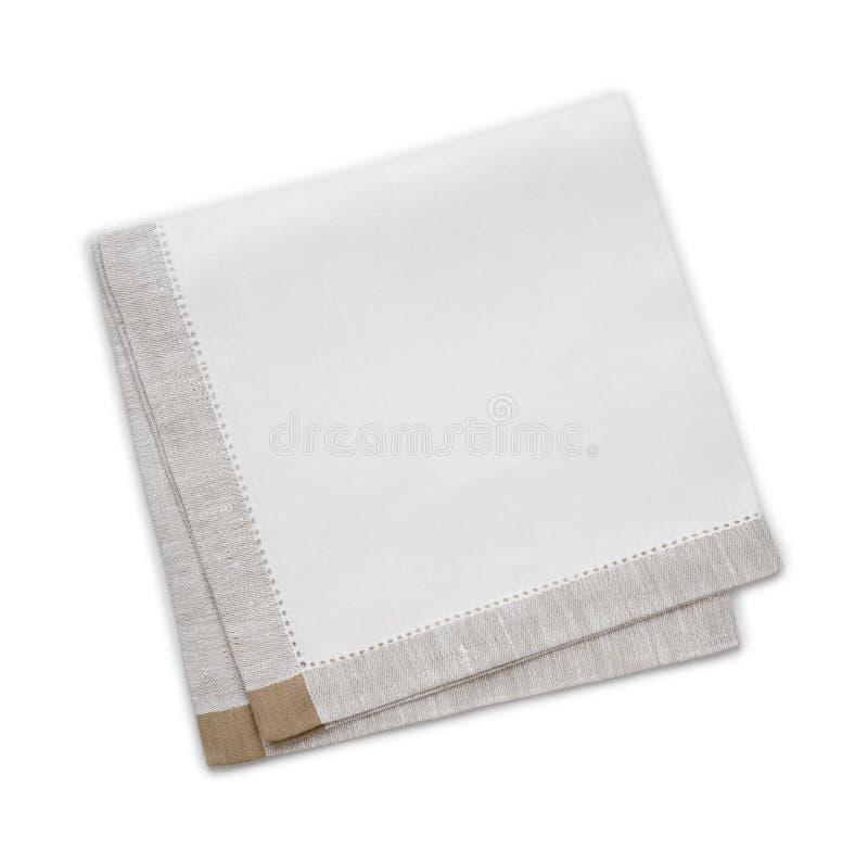 Maak gevouwen keukenhanddoek schoon die op wit wordt geïsoleerd royalty-vrije stock afbeeldingen