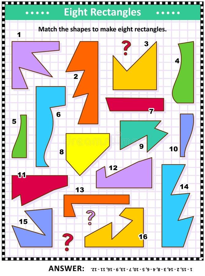 Maak het beeld van de rechthoekenwiskunde in verwarring brengen stock illustratie