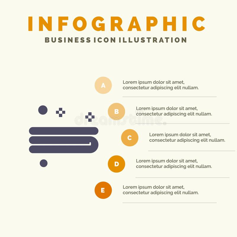 Maak, het Schoonmaken, Handdoek Stevig Pictogram Infographics 5 de Achtergrond van de Stappenpresentatie schoon vector illustratie