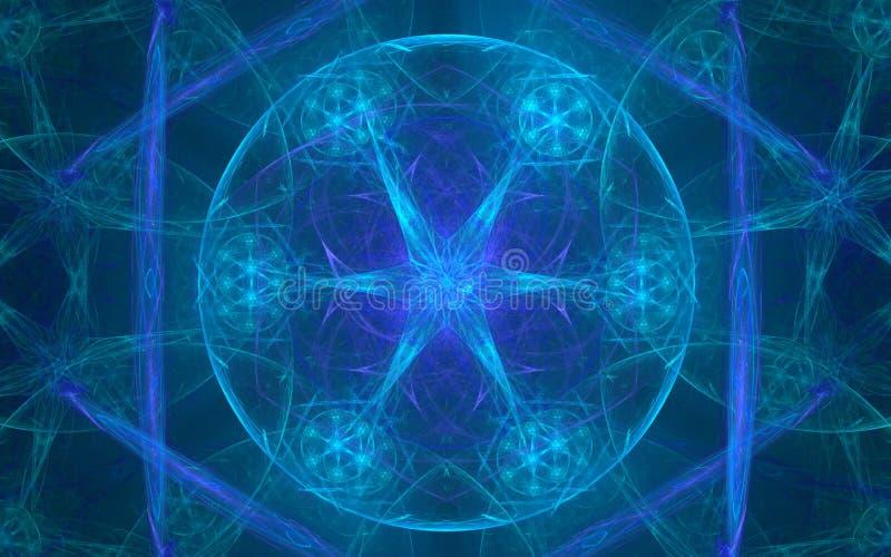 Maak illustratie een mooi abstract patroon van het gloeien blauwe tinten die uit een cirkel, een ster en lilac bloemblaadjes best vector illustratie