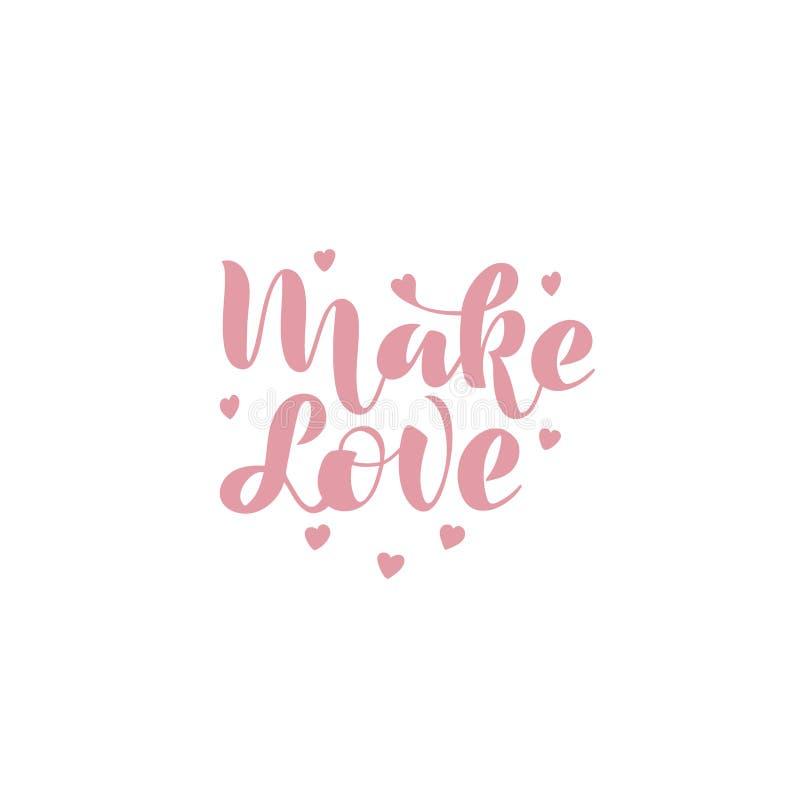 Maak liefde Met de hand geschreven uitdrukking royalty-vrije illustratie