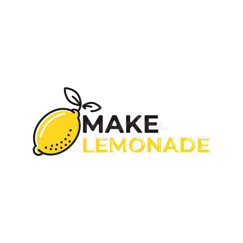 Maak limonadeembleem Logotype met heldere verse citroen De zomertekening voor een smoothieswinkel stock illustratie