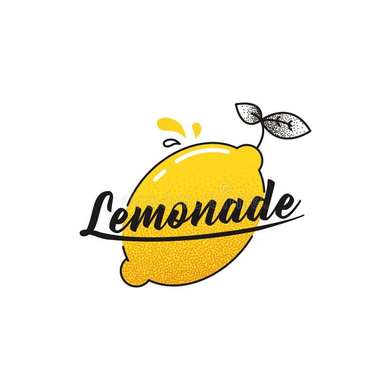 Maak limonadeembleem Logotype met heldere verse citroen De zomertekening voor een smoothieswinkel royalty-vrije illustratie
