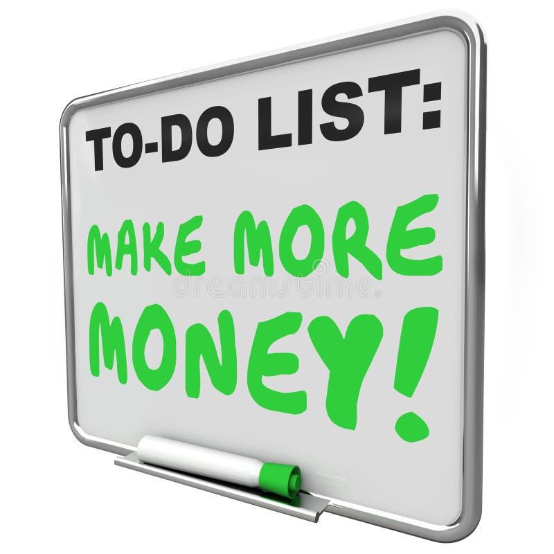 Maak Meer Geld Inkomensinkomens verhogen om Lijst te doen stock illustratie