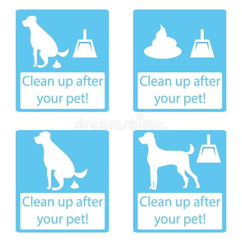 Maak na uw huisdier schoon Vastgesteld pictogram vector illustratie