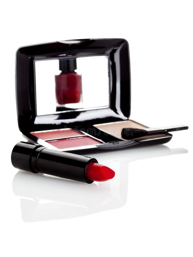 Maak omhoog en lippenstift stock fotografie