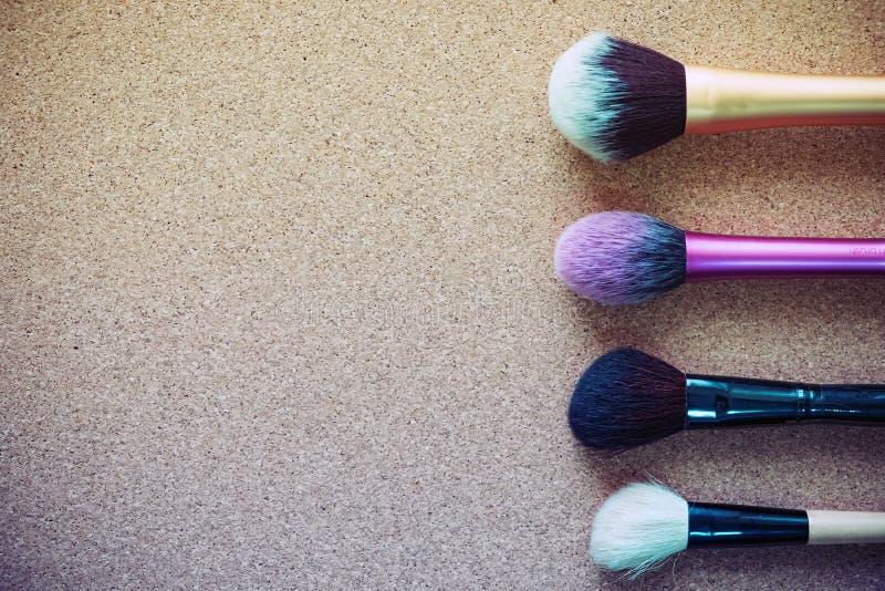 Maak omhoog kosmetische borstel stock foto