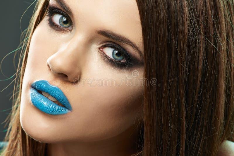 Maak omhoog Model schoonheidsportret Mooie lippen royalty-vrije stock foto's
