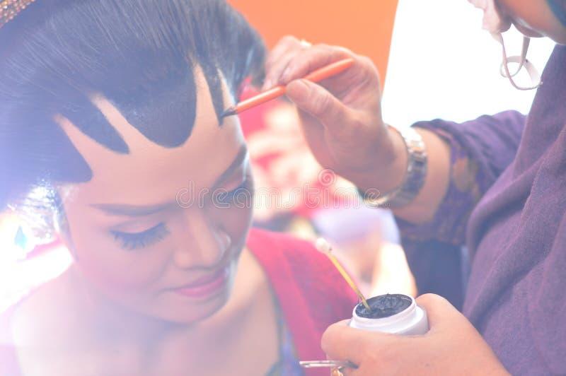 Maak omhoog proces bij javanese huwelijksceremonie royalty-vrije stock foto