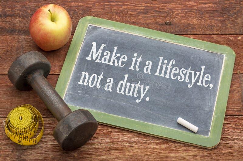 Maak tot het een levensstijl, niet een plicht stock fotografie