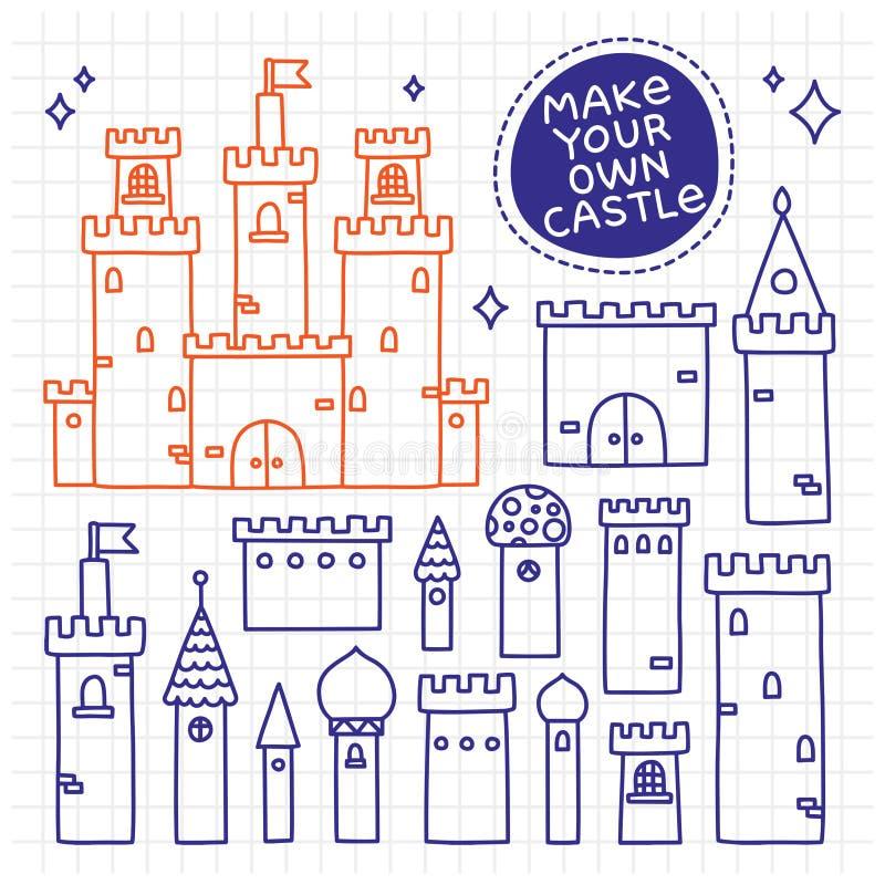 Maak uw eigen kasteel Hand getrokken krabbeltoren stock illustratie