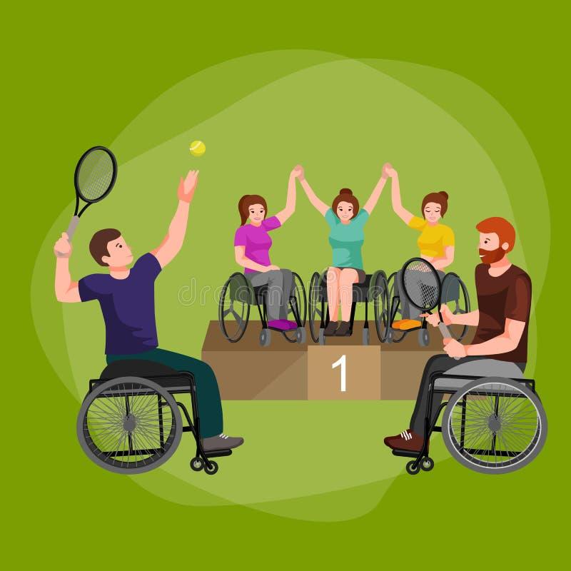 Maak van de de Spelenstok van de Handicapsport de Pictogrammen van het het Cijferpictogram onbruikbaar royalty-vrije illustratie