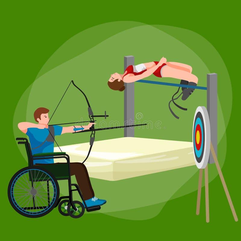 Maak van de de Spelenstok van de Handicapsport de Pictogrammen van het het Cijferpictogram onbruikbaar vector illustratie