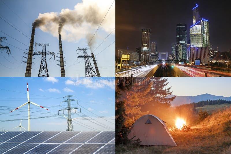 Maak versus vuile energie schoon Zonnepanelen en windturbines tegen fu royalty-vrije stock foto's