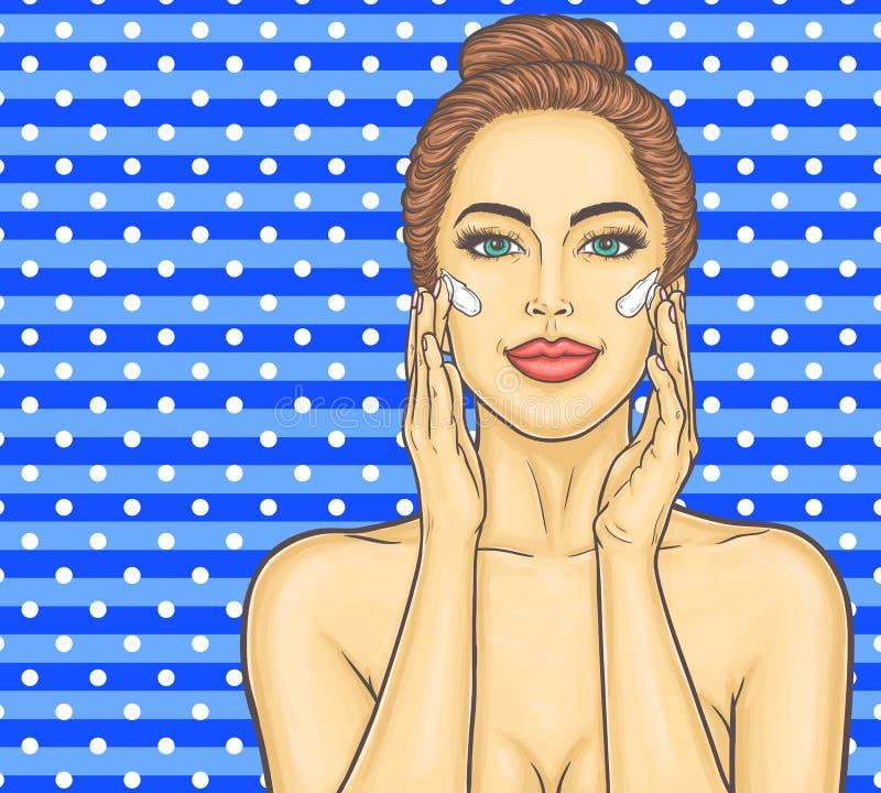 Maakt de pop-art mooie jonge vrouw een gezichtsmassage royalty-vrije illustratie