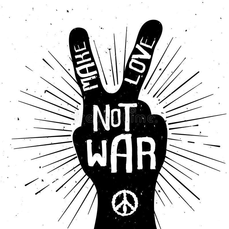 Maakt het Grunge verontruste silhouet van het vredesteken met Liefde niet Oorlog stock illustratie