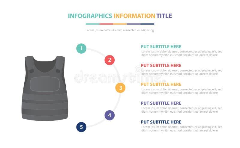Maakt van het infographic het malplaatjeconcept van het kogelvrij vestjasje met vijf punten en diverse kleur met schone moderne w royalty-vrije illustratie