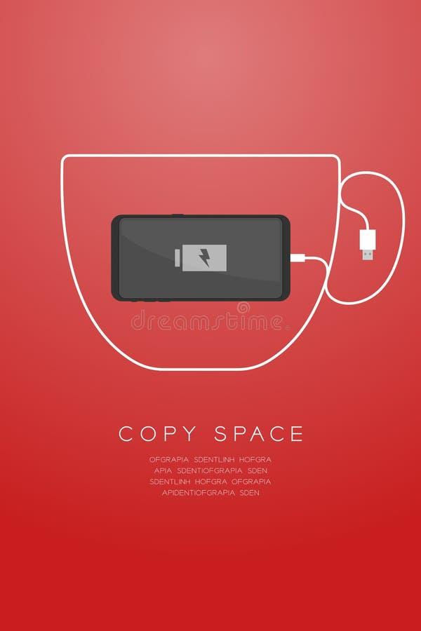 Maakte het zwarte de kleuren vlakke ontwerp van Smartphone, de vorm van de koffiekop van de kabelillustratie van de usblader stock illustratie