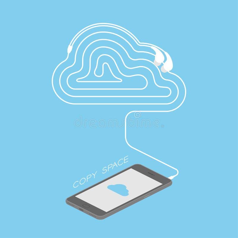 Maakten het zwarte de kleuren isometrische vlakke ontwerp van Smartphone, de het symbool blauwe kleur van het wolkenpictogram op  vector illustratie