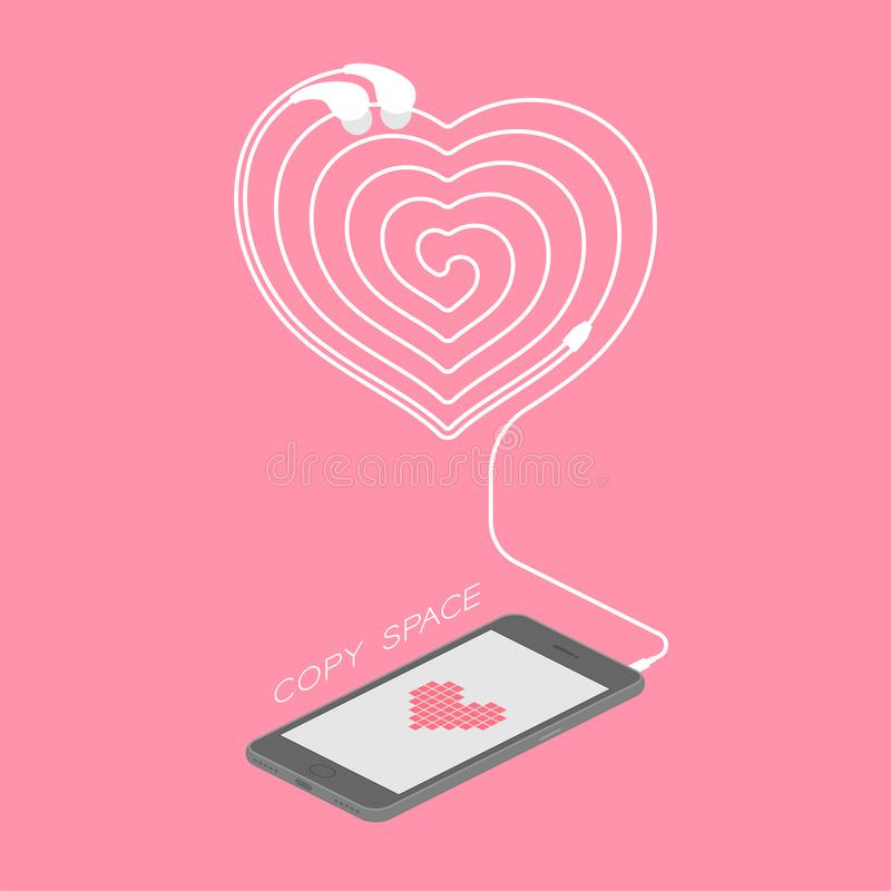 Maakten het zwarte de kleuren isometrische vlakke ontwerp van Smartphone, de het symbool roze kleur van het hartpictogram op het  vector illustratie